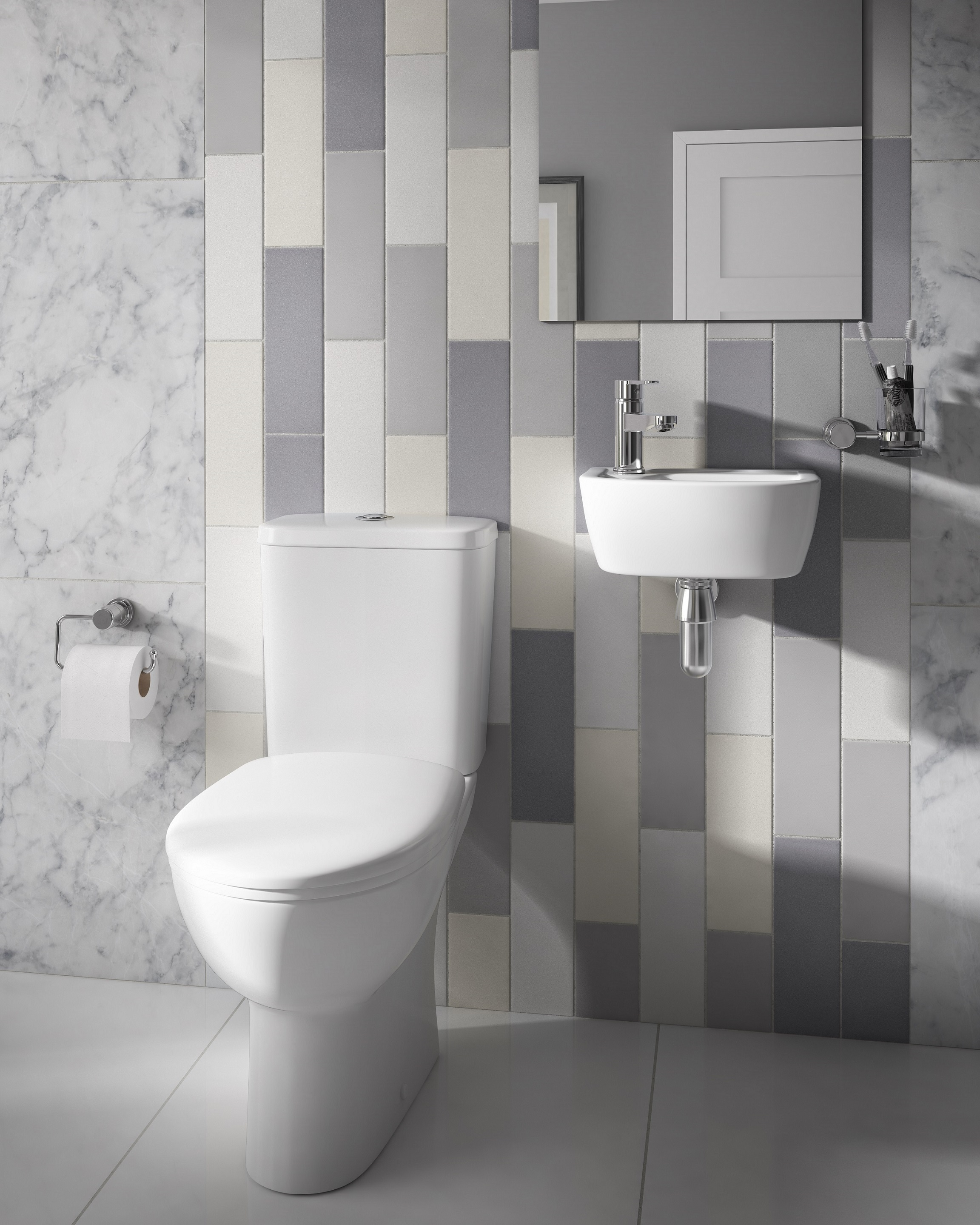enlarge space saver toilet with geo 35cm left handed basin